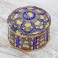 Gilded porcelain decorative box, 'Royal Benjarong' - Lotus Motif Gilded Porcelain Decorative Box from Thailand