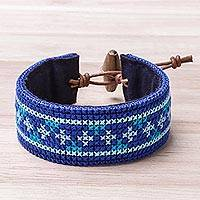 Cotton wristband bracelet, 'Hmong Path' - Cross Pattern Hmong Cotton Wristband Bracelet from Thailand