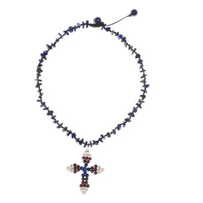 Lapis Lazuli and Garnet Bohemian Cross Necklace