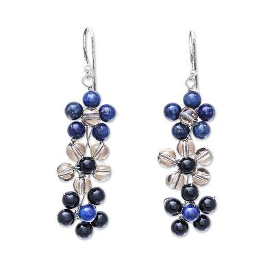 Lapis Lazuli and Glass Beaded Dangle Earrings from Thailand
