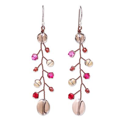 Smoky Quartz and Garnet Beaded Dangle Earrings from Thailand