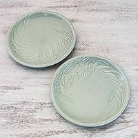 Celadon ceramic plates, 'Thai Rice' (pair) - Celadon Ceramic Plates from Thailand (Pair)