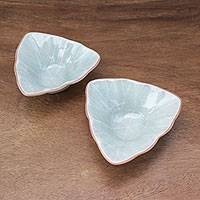 Ceramic condiment servers, 'Luxe Leaves in Green' (pair) - Triangular Celadon Green Ceramic Condiment Servers (Pair)