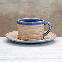 Ceramic cup and saucer, 'Wicker in Blue' - Handcrafted Wicker Motif Blue Ceramic Cup and Saucer