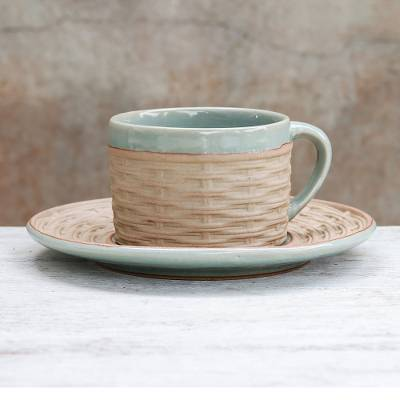 Ceramic cup and saucer, 'Wicker in Green' - Handcrafted Wicker Motif Celadon Ceramic Cup and Saucer