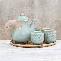 Celadon ceramic tea set, 'Elephant Gathering' (set for 4) - Elephant-Themed Celadon Ceramic Tea Set (6 Piece)