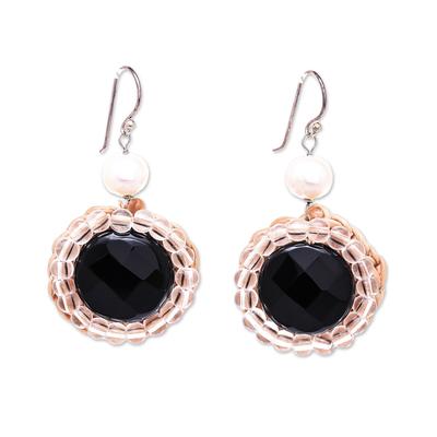 Quartz and Cultured Pearl Beaded Dangle Earrings