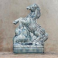 Ceramic sculpture, 'Lucky Horse' - Crackled Blue Ceramic Horse Sculpture from Thailand