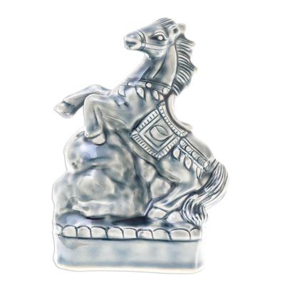 Crackled Blue Ceramic Horse Sculpture from Thailand