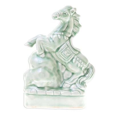 Celadon Ceramic Horse Sculpture Crafted in Thailand