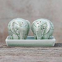 Celadon ceramic salt and pepper shaker set, 'Elephant Taste' (3 pieces) - Floral Elephant Celadon Ceramic Salt and Pepper Shaker Set