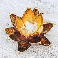 Steel and glass tealight holder, 'Lotus Caress' (8 inch) - Steel and Glass Lotus Flower Tealight Holder (8 in.)