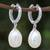 White gold plated cultured pearl dangle earrings, 'Refreshing Morning in White' - White Gold Plated Cultured Pearl Dangle Earrings in White (image 2) thumbail