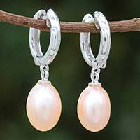 White gold plated cultured pearl dangle earrings, 'Refreshing Morning in Peach' - White Gold Plated Cultured Pearl Dangle Earrings in Peach