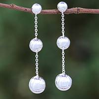 Sterling silver dangle earrings, 'Wondrous Orbs'