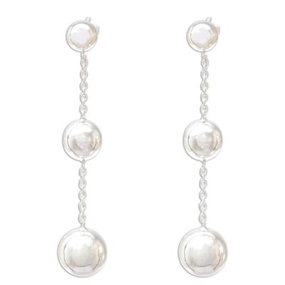 Sterling silver dangle earrings, 'Wondrous Orbs' - Sterling Silver Orb Dangle Earrings from Thailand