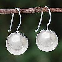 Sterling silver drop earrings, 'Shining Orb' - Round Sterling Silver Drop Earrings from Thailand