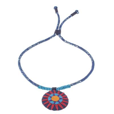 Handcrafted Cotton Pendant Necklace in Red from Thailand