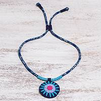 Cotton pendant necklace, 'Blue Hmong Sun Medallion' - Handcrafted Cotton Pendant Necklace in Blue from Thailand