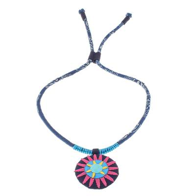 Handcrafted Cotton Pendant Necklace in Pink from Thailand