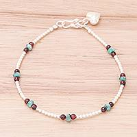 Garnet and prehnite beaded bracelet, 'Nice Heart' - Garnet and Prehnite Hill Tribe Beaded Bracelet from Thailand