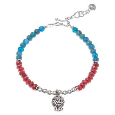 Fish-Themed Apatite and Quartz Beaded Bracelet