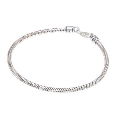 Sterling silver chain bracelet, 'Serpentine Path' - Sterling Silver Snake Chain Bracelet from Thailand