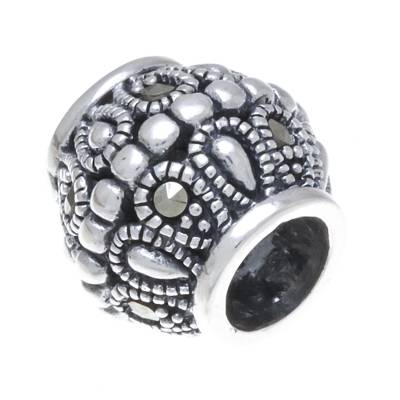 Sterling Silver and Marcasite Bracelet Bead from Thailand