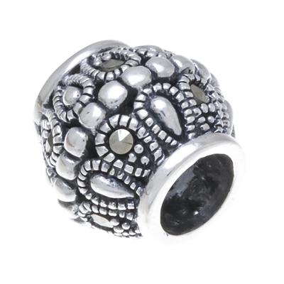 Sterling silver bracelet bead, 'Elegant Gleam' - Sterling Silver and Marcasite Bracelet Bead from Thailand