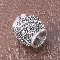 Sterling silver bracelet bead, 'Glamorous Weave'