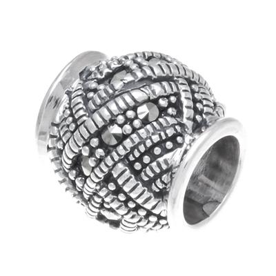 Sterling silver bracelet bead, 'Glamorous Weave' - Weave Pattern Sterling Silver Bracelet Bead from Thailand