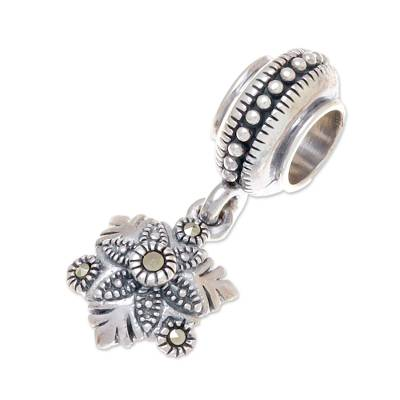 Floral Sterling Silver Bracelet Charm from Thailand