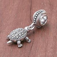 Sterling silver bracelet charm, 'Glamorous Turtle'