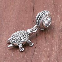 Sterling silver bracelet charm, 'Glamorous Turtle' - Sterling Silver Turtle Bracelet Charm from Thailand