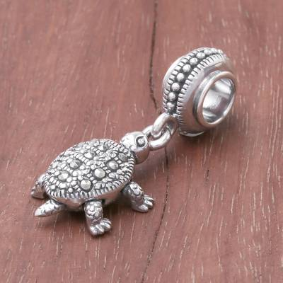 Sterling silver bracelet charm, Glamorous Turtle