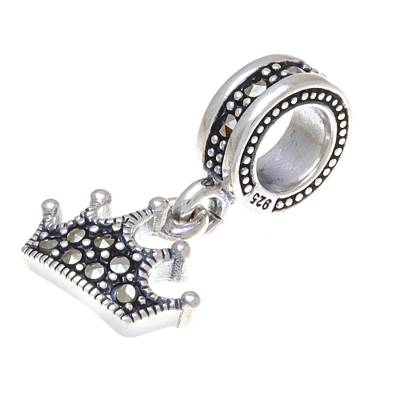 Sterling silver bracelet charm, 'The Princess' - Sterling Silver Crown Bracelet Charm from Thailand