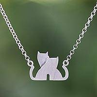 Sterling silver pendant necklace, 'Loving Cats' - Loving Cat Sterling Silver Pendant Necklace from Thailand