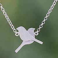 Sterling silver pendant necklace, 'Bird Couple' - Lovebird Sterling Silver Pendant Necklace from Thailand