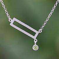 Peridot pendant necklace, 'Rectangle Dazzle'