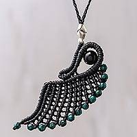 Onyx pendant necklace, 'Green Free Wing' - Onyx and Dyed Stone Cord Pendant Necklace from Thailand