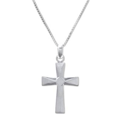 Sterling silver pendant necklace, 'Profession of Faith' - Sterling Silver Cross Pendant Necklace from Thailand