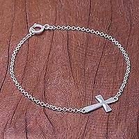 Sterling silver pendant bracelet, 'Profession of Faith' - Sterling Silver Cross Pendant Bracelet from Thailand
