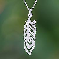 Sterling silver pendant necklace, 'Glamorous Feather' - Sterling Silver Feather Pendant Necklace from Thailand