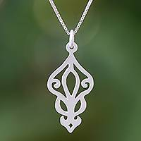 Sterling silver pendant necklace, 'Petal Magic' - Openwork Sterling Silver Pendant Necklace from Thailand