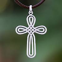 Sterling silver pendant necklace, 'Pretty Cross'
