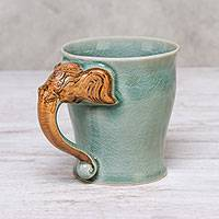 Celadon ceramic mug, 'Elephant Morning' (10 oz.) - Celadon Ceramic Elephant Mug in Green from Thailand (10 oz.)