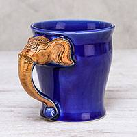Celadon ceramic mug, 'Elephant Handle in Blue' (10 oz.) - Celadon Ceramic Elephant Mug in Blue from Thailand (10 oz.)