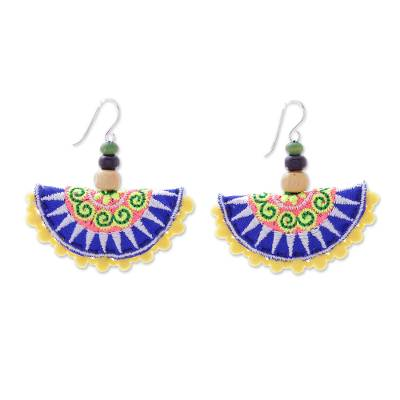 Cotton Blend Hill Tribe Dangle Earrings from Thailand
