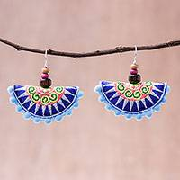 Wood accented cotton blend dangle earrings, 'Hill Tribe Festival in Blue' - Cotton Blend Hill Tribe Dangle Earrings in Blue
