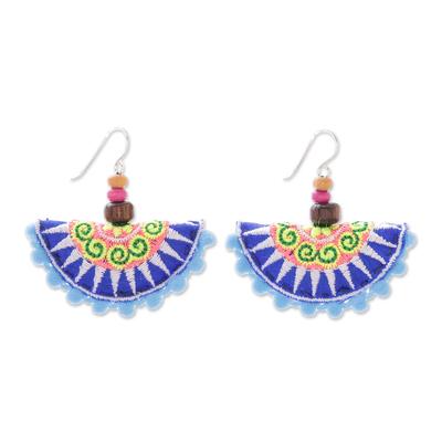 Cotton Blend Hill Tribe Dangle Earrings in Blue